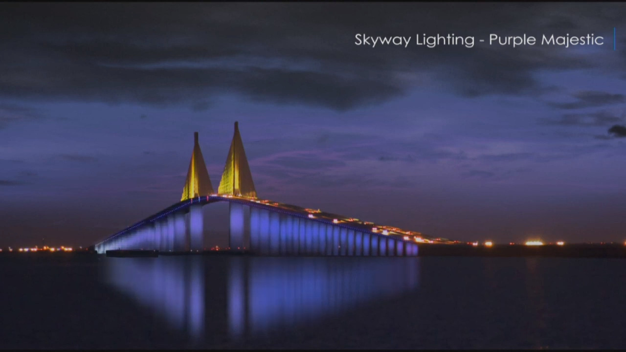 Colorful new lights will illuminate landmark Sunshine Skyway Bridge. Here's a sneak peek
