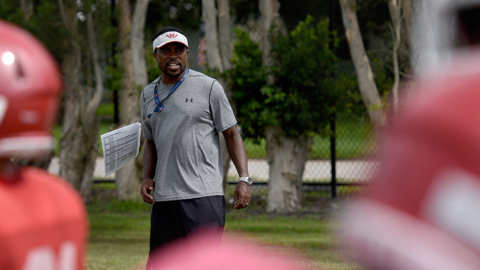 He played at Florida and with the Tampa Bay Bucs. Now Manatee High has him as a coach