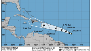 Hurricane Beryl strengthening as it churns toward the Caribbean islands