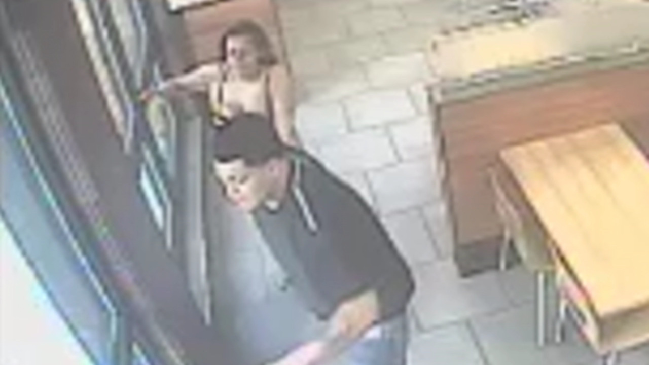 A woman was abducted from behind a fast-food restaurant counter. Cops are looking for her