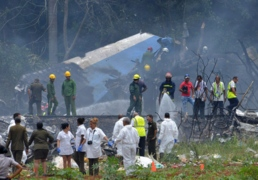 Rescue workers on the scene of the plane crash in Havana