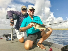 Ralph Allen catching bass that are still spawning and creating some thrilling fishing in Lake Okeechobee