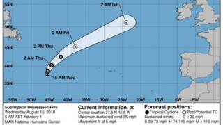 Subtropical depression Ernesto forms over the central Atlantic Ocean