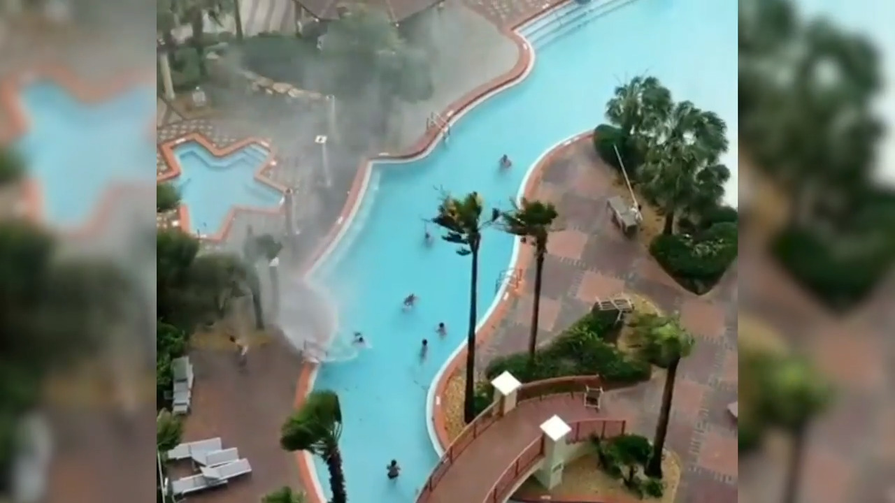 Things not on this Florida resort's brochure: a water spout forming on the pool deck