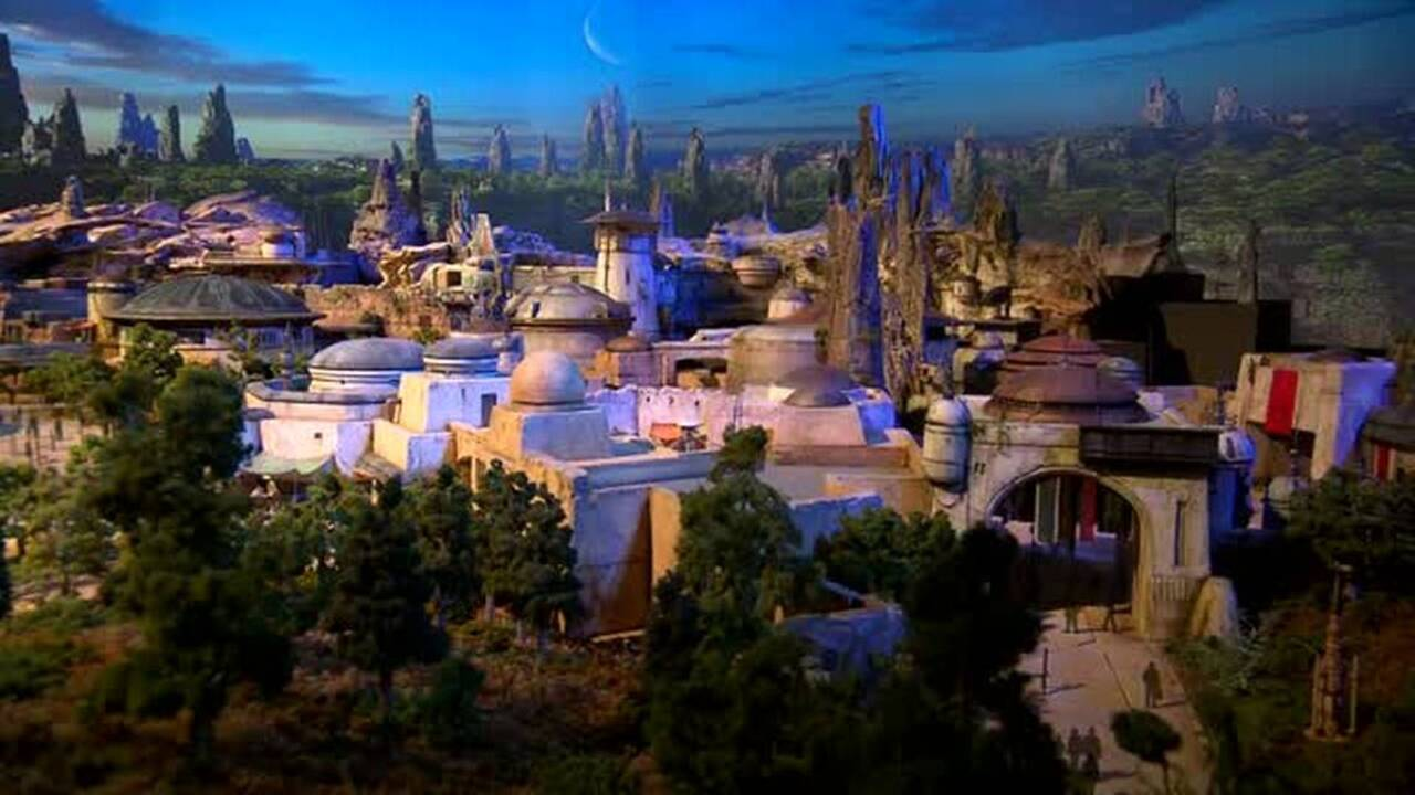 Here's a look from above at Star Wars: Galaxy's Edge just before it opens at Disney