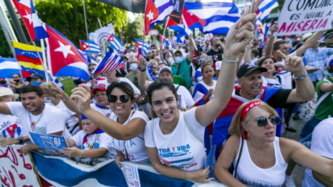 Rally held in downtown Miami against the Cuban, Venezuelan and Nicaraguan governments