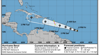 Hurricane Beryl continues its way toward the Caribbean islands