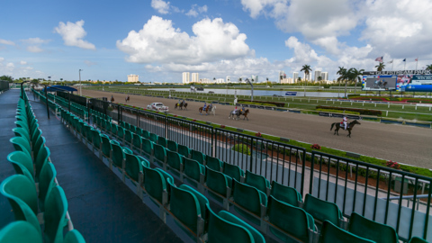 Horses still racing at Gulfstream Park but with no fans in the stands