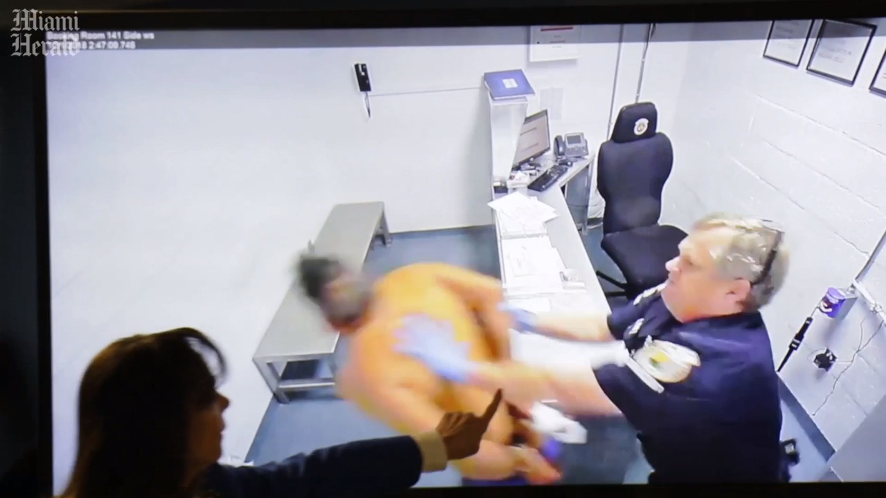 Video catches Florida officer shoving handcuffed inmate into wall. Now he's been charged.