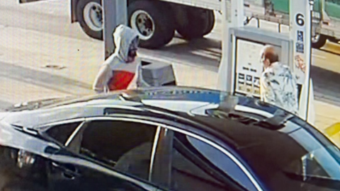 Authorities are asking for help identifying a suspect who stabbed a man while pumping gas