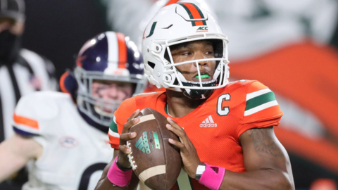 UM quarterback D'Eriq King talks about the team's two week layoff because of Covid and his thought on returning to UM next year