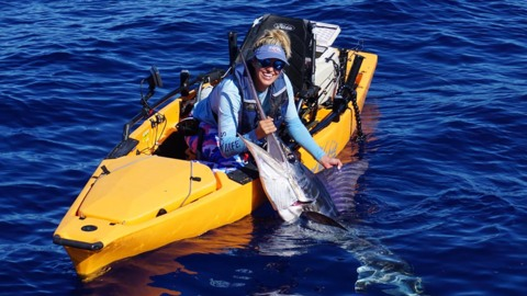 Women catches striped marlin from Kayak