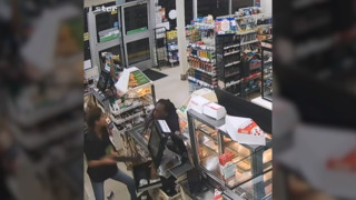 Video captures violent store robbery in Hollywood