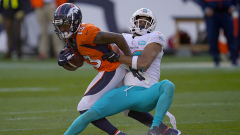 "Dolphins safety Byron Jones, ""we were in a dogfight"", in their defeat to the Denver Broncos"