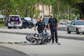 Doral police motorman airlifted to JMH after crash