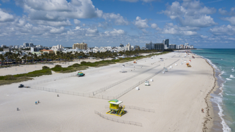 Aerial footage shows a stretch of Miami Beach closed over COVID-19 concerns