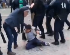 Video shows Macron bodyguard beating protester in Paris