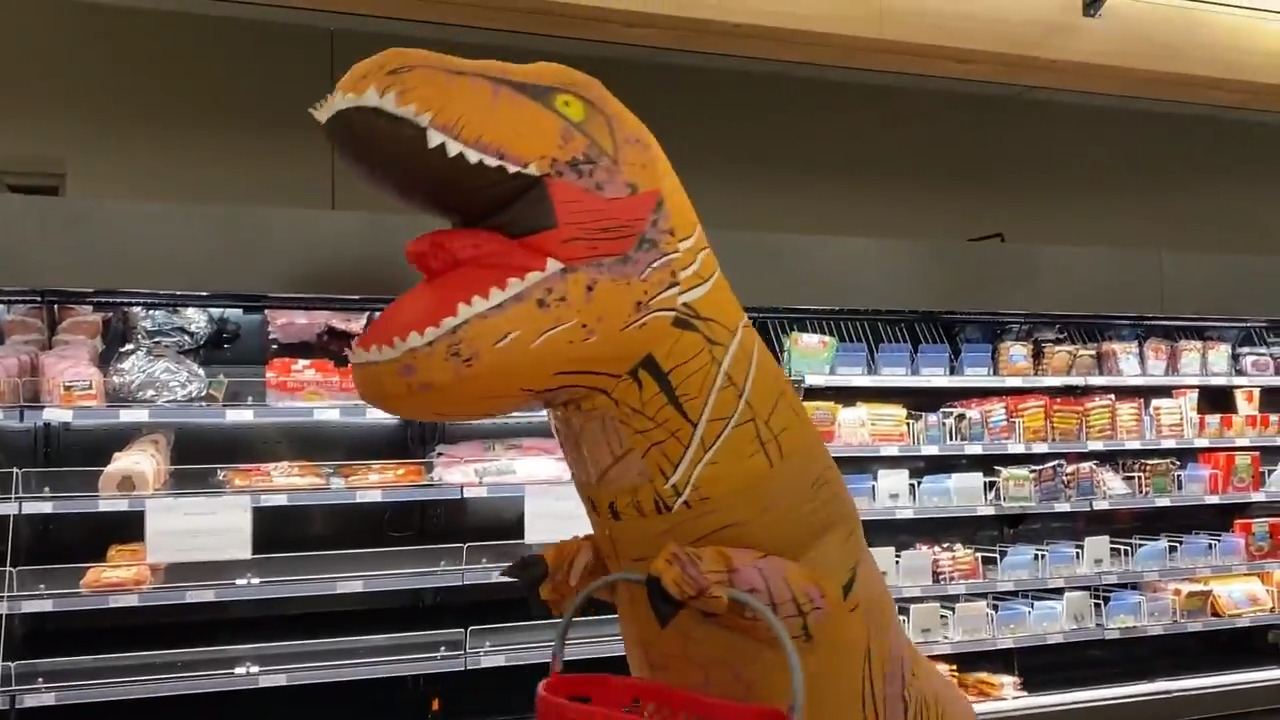 No mask? No problem! Watch a Target shopper do a grocery run in a dinosaur suit