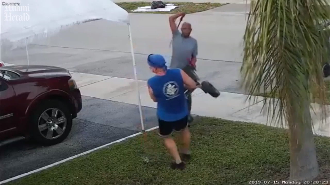 It was a fight over trash. Then one man started swinging a sword