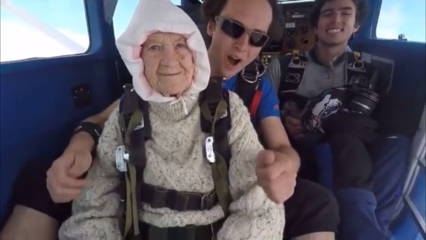 Fearless 102-year-old grandma skydives for charity