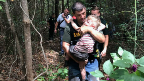 Missing 3-year-old autistic child found in the woods by deputy bloodhound