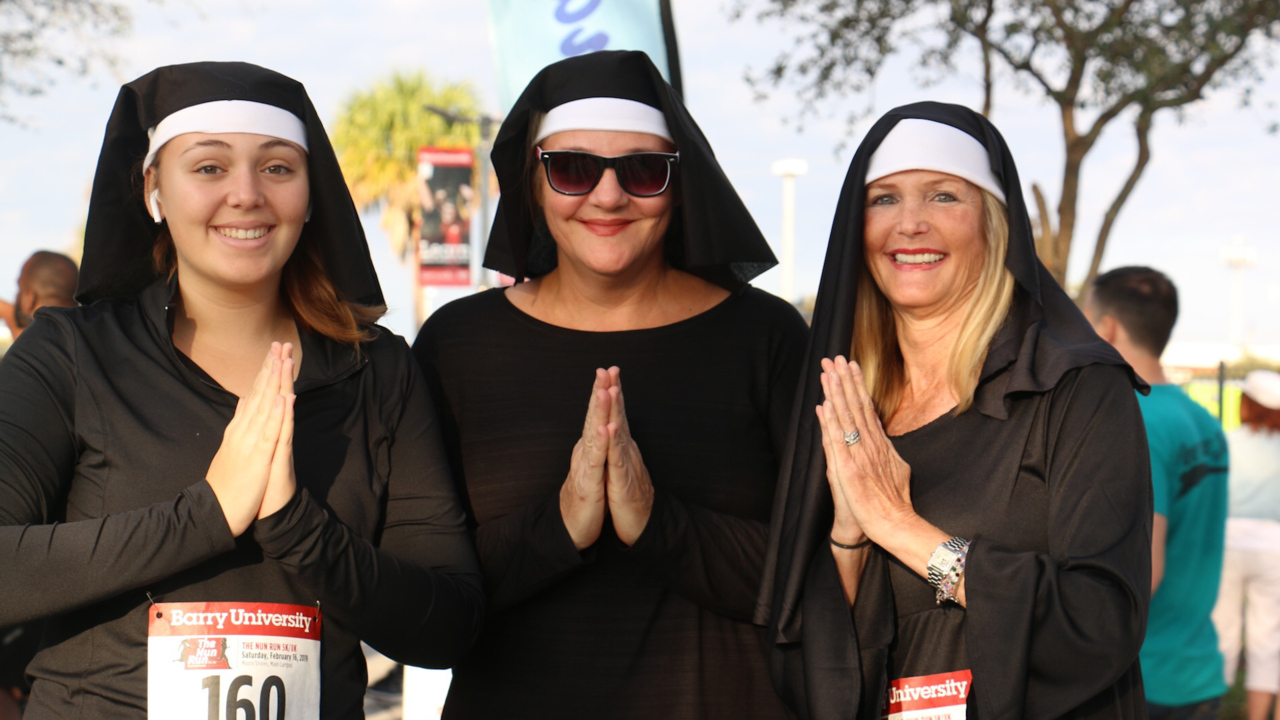 What's black and white and runs all over? Barry holds its first Nun Run to find out