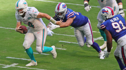 "Dolphins quarterback Fitzpatrick disappointed they couldn't ""punch it in on fourth and one"", in their defeat to the Bills"