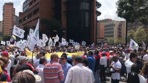 Venezuelans gather in Caracas ahead of a nationwide demonstration called by Guaido
