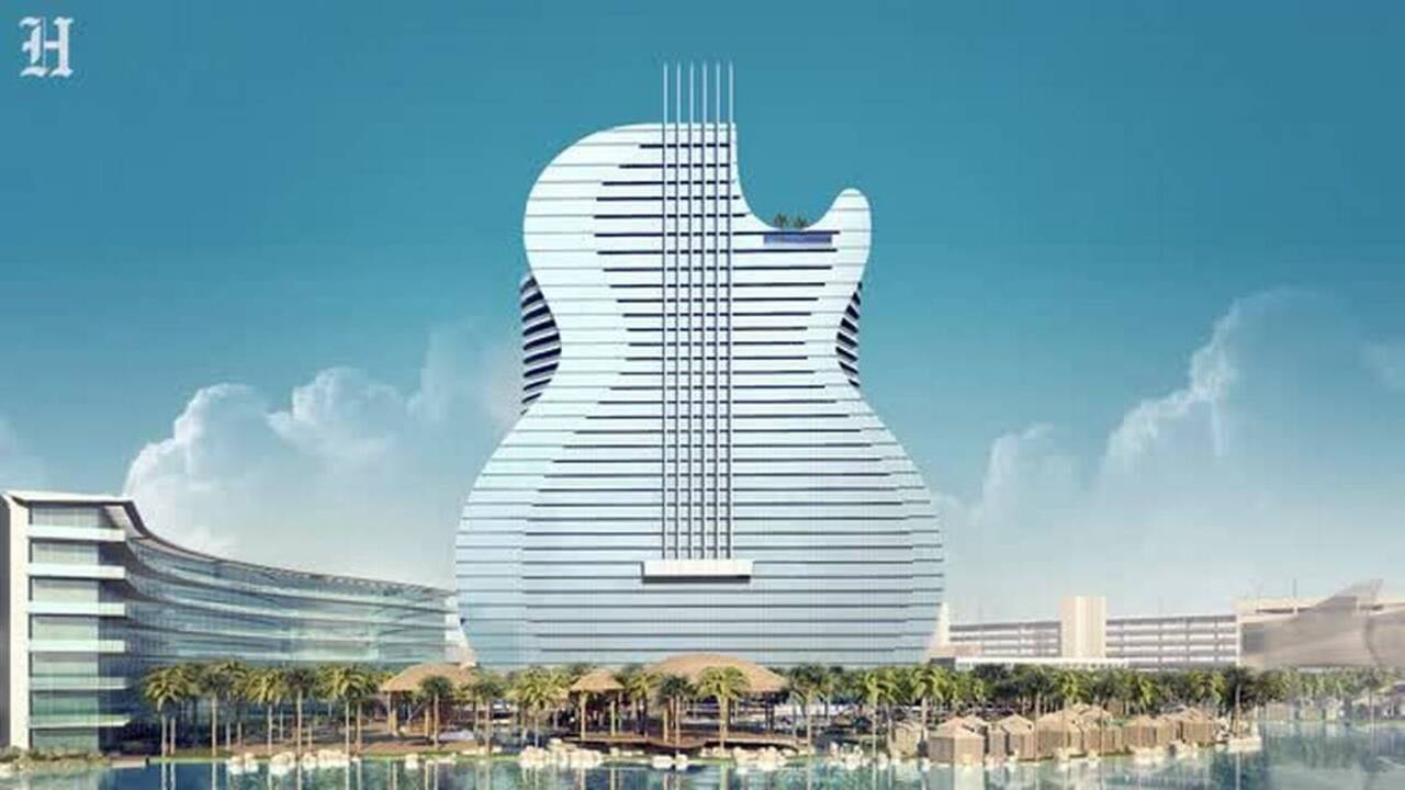 You can book a room at the giant guitar hotel very soon. Here's what to do.
