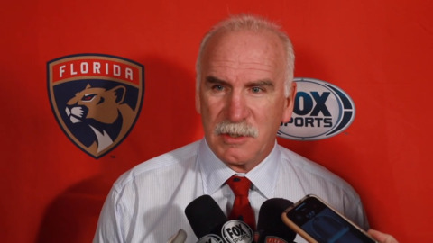 Panthers coach Joel Quenneville post game interview after the loss to the Islanders