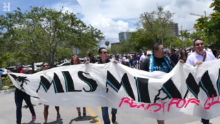Miami MLS supporters rally before City of Miami Commission meeting with Jorge Mas and David Beckham