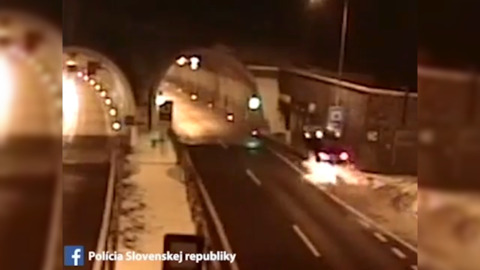 Dramatic video shows car going airborne and crashing  at tunnel entrance