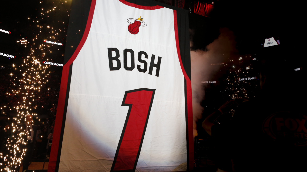 93f65af83d4 Chris Bosh reflects on career as Heat retires his jersey