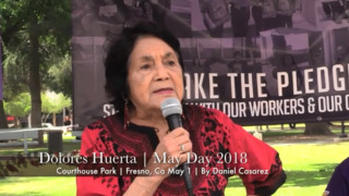Dolores Huerta rallies at May Day event in Fresno.