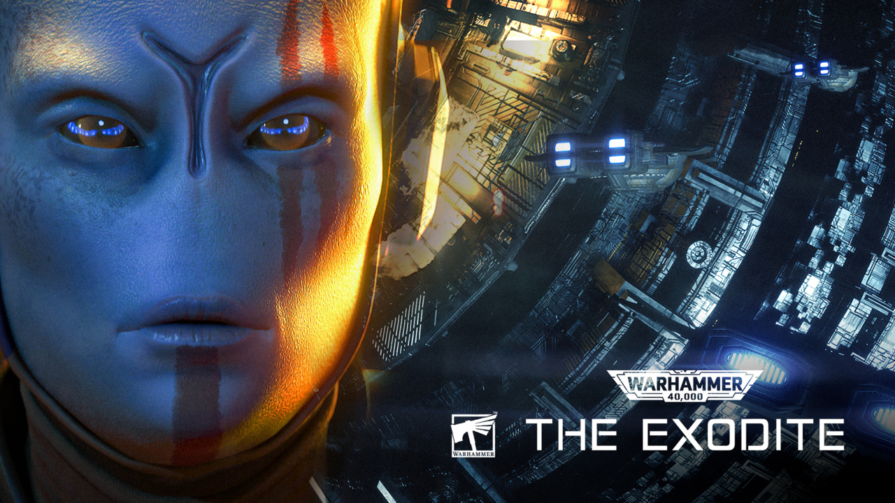 Advert for The Exodite, featuring a T'au (a blue-skinned alien) in front of a huge spaceship.