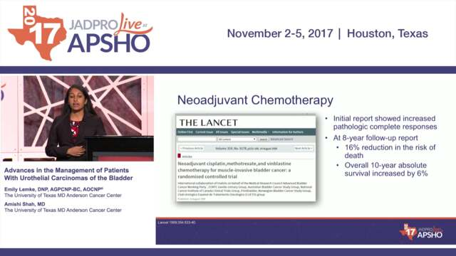 Advances in the Management of Patients with Urothelial Carcinomas of the Bladder