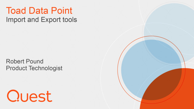 Toad Data Point Import/Export Wizards