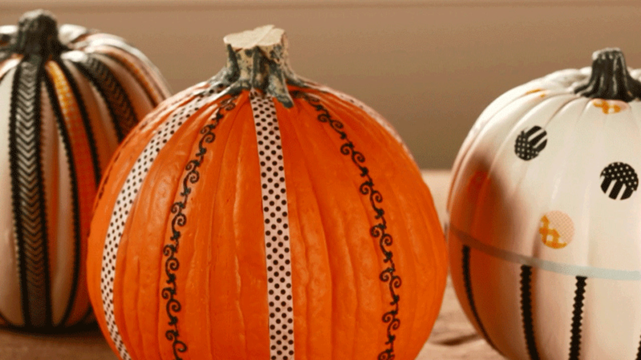 Pumpkins Decorated with Tape
