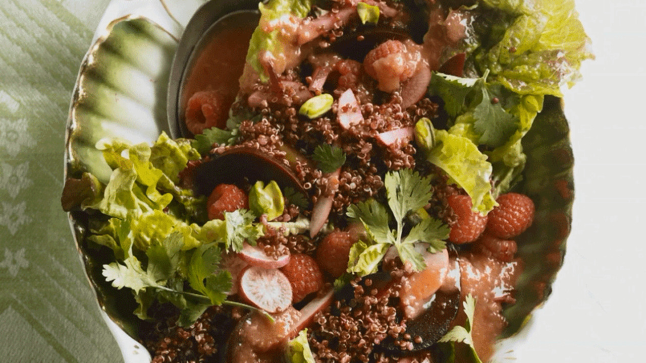 See How to Make Red Quinoa Salad and Red Chile Vinaigrette
