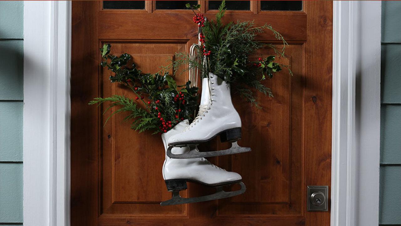 Vintage Ice Skate Door Decor