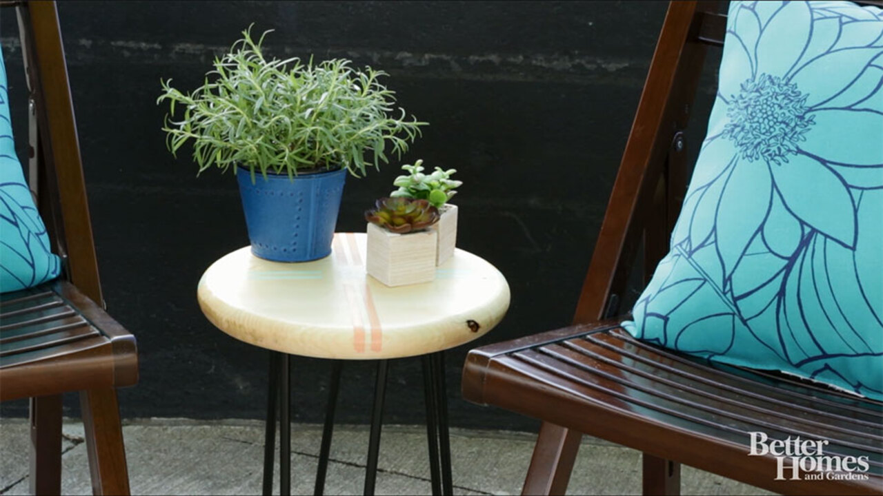 DIY Outdoor Side Table with Hairpin Legs
