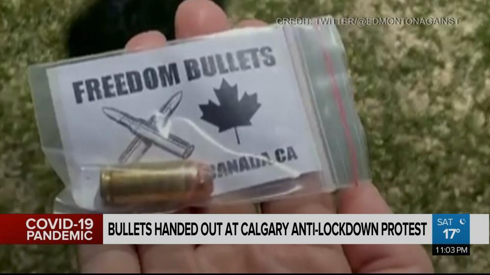 Freedom bullets' appear to be handed out at Calgary anti-lockdown protest