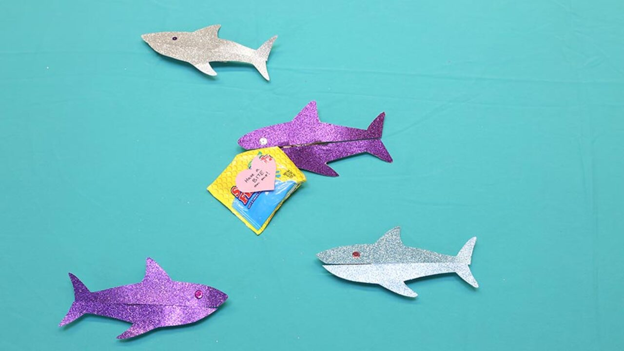 Quick and Easy Valentine's Day Craft: Shiny Sharks