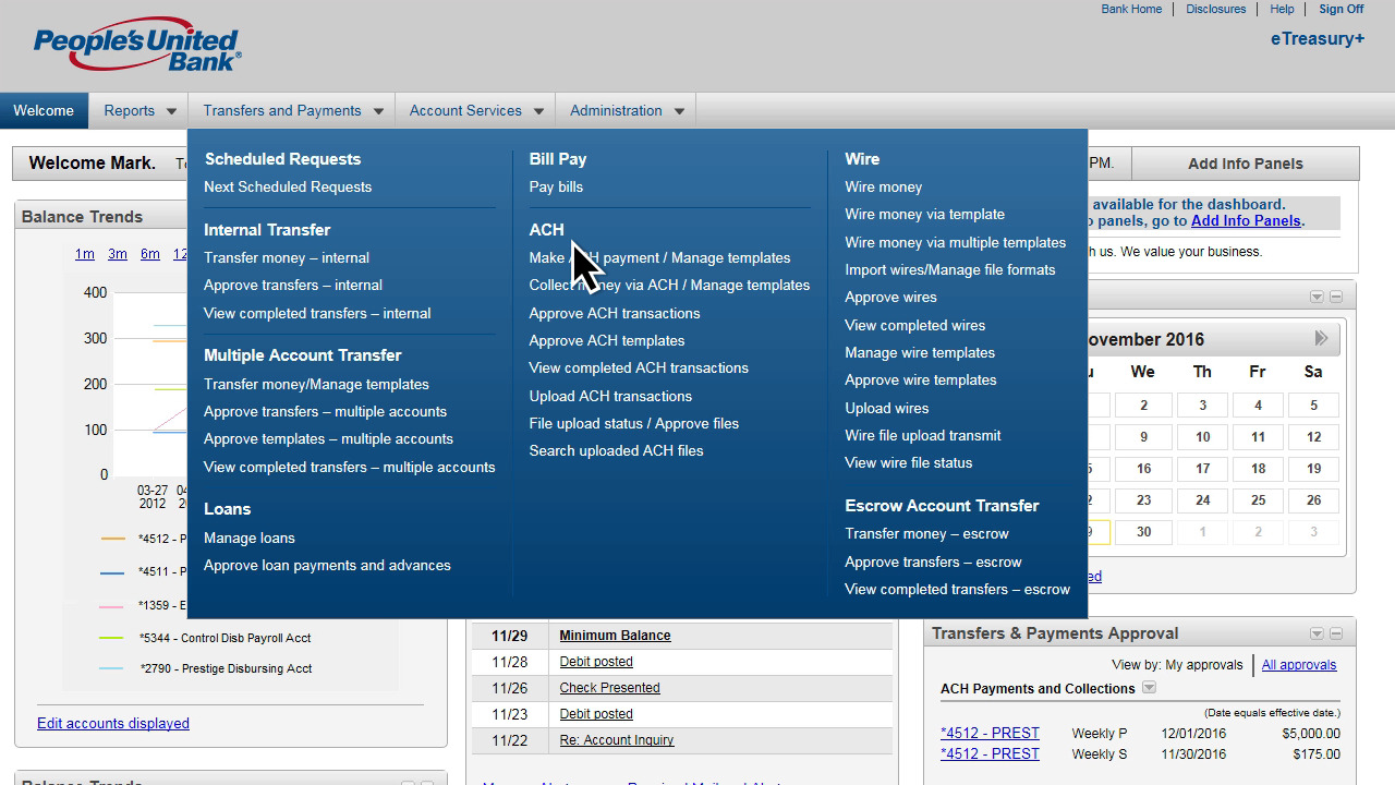 Business Online Banking | eTreasury+ | People's United Bank