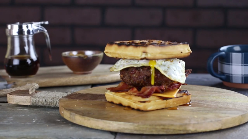 Waffle Pork Burger with Smoky Maple Flavors