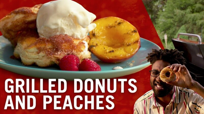 Grilled Peaches and Donuts