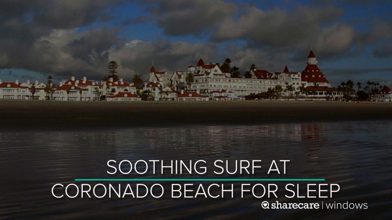 8 Hours of Soothing Surf at Coronado Beach for Sleep (Ultra Low Light)