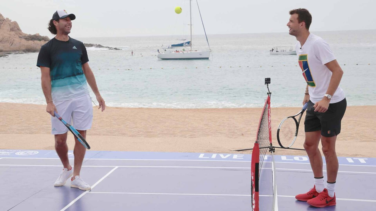 Dimitrov, Gonzalez Take Tennis To The Beach In Los Cabos