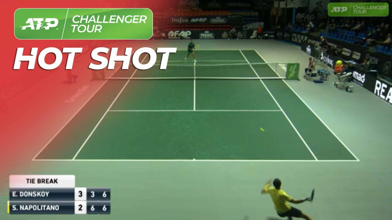 Hot Shot: He Slips And Still Wins The Point!