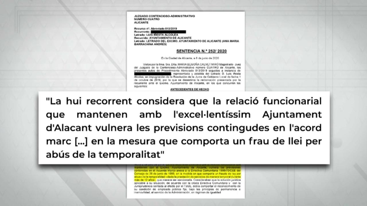 La sentència no és ferma i l'Ajuntament d'Alacant pot recórrer en contra